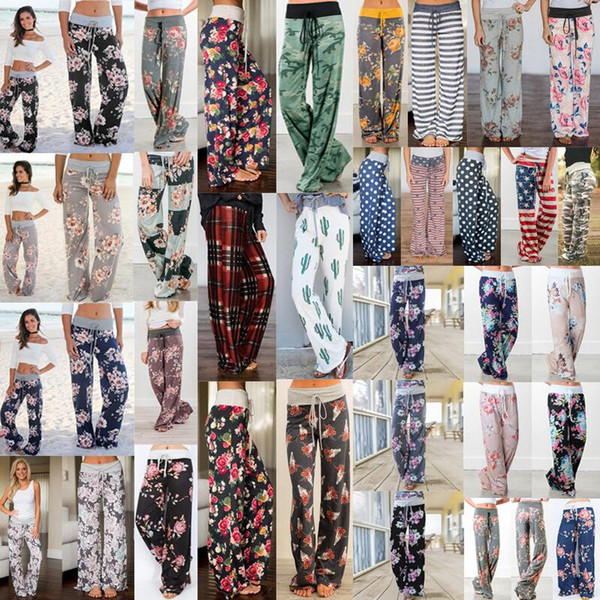 best selling 28styles Floral Wide Leg Pants Elastic Waist Stripe Palazzo Capris Lady Sport Casual Loose Long Pants Women Trousers Fitness Yoga AAA2204