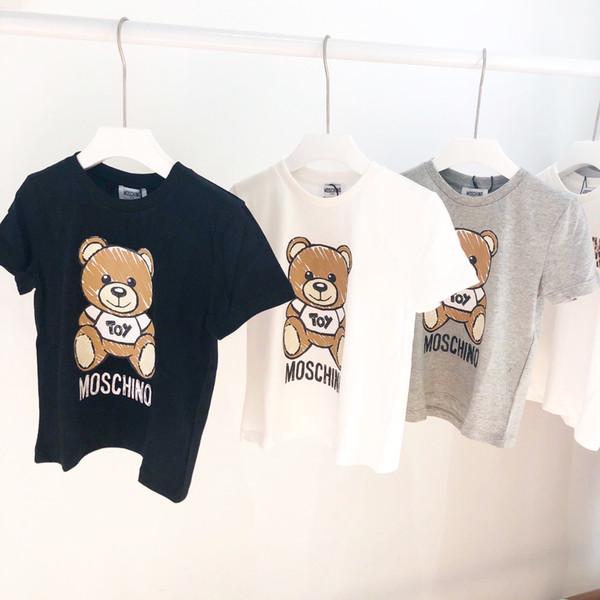 Diseñador de niños Camiseta de Lujo para Niños Oso Patrón de Manga Corta Niñas Marca Carta Impreso Top Tees 2019 Verano Nueva Ropa para niños