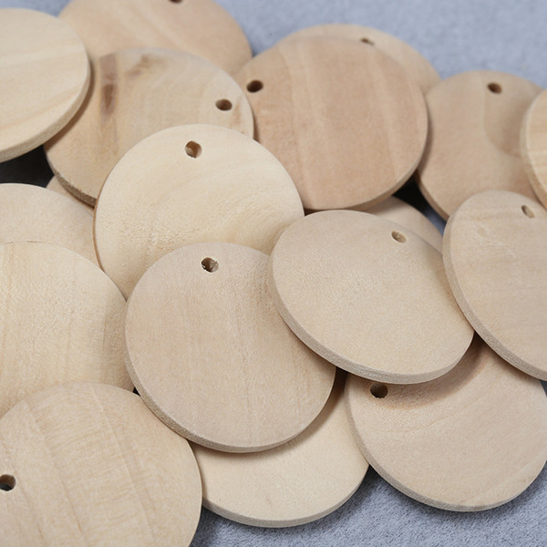 best selling 100pcs lot 15 20 25 30 35 40mm Natural Unilateral Hole Wooden Beads For Jewelry Making Loose Wood Beads DIY Earring Accessories
