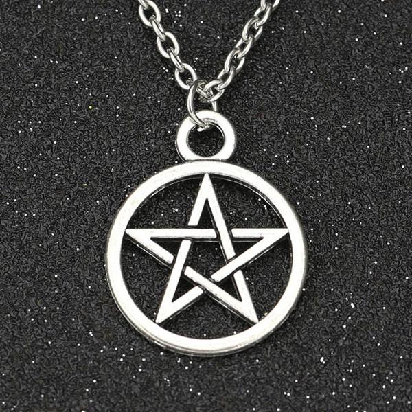 Wholesale-Supernatural Necklace Devil's Trap Pentagram Pentacle Vintage Retro Antique Silver Pendant Movie Jewelry Wholesale