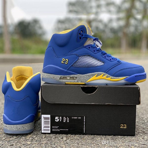 New Released GS Basketball Shoes 5 Blue Yellow 23 High Shoes Women Fashion Designer Real Leather Athletic Sports Sneakers