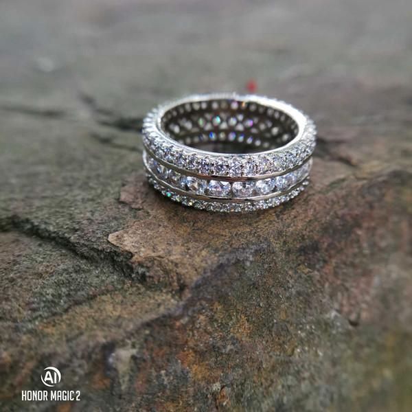 925 anello di diamanti imitazione per le donne anello di cristallo pieno per gli uomini di nozze gioielli di design di lusso formato da 6 a 10 con scatola regalo