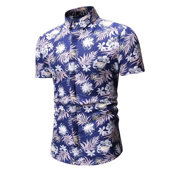Beach Hawaiian Shirt 2019 Summer Printed Men Shirt Short Sleeve Floral Holiday Mens Shirts Casual Slim Fit Camisa Hombre