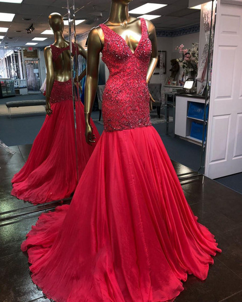 2019 Sexy Deep V-Neck Red Long Mermaid Prom Dresses Full Beaded Crystal Body Sleeveless Open Back Formal Evening Party Dresses