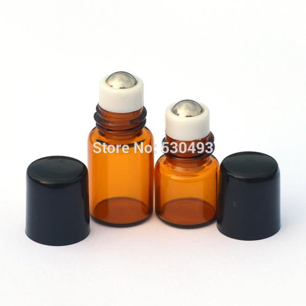 Venta caliente 100 unids 1 ml Mini Amber Roll en botellas de rodillo para aceites esenciales 2 ml Roll-on recargable botella de perfume desodorante contienen