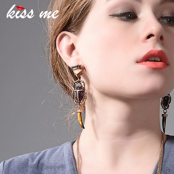 Kiss Me Geometric Horn Resin Natural Stone Long Dangle Earrings For Women Fashion Jewelry Gift 2018 Y19062901