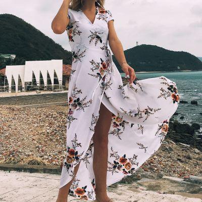 Сексуальные женщины V-образным вырезом печатных шифон платье Сплит пляж праздничные платья женская мода асимметричный длинная юбка Флора печати шифон платье