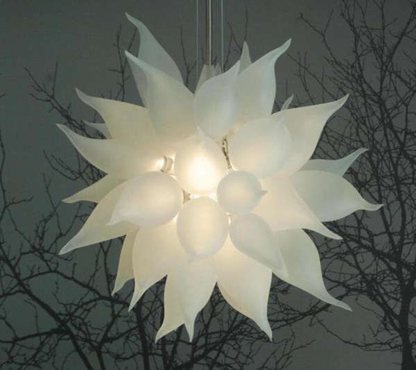 Chihuly Round LED Crystal Chandelier Lights White Wedding Home Decorative Suspension Pendant Lamp Hand Blown Glass Chandelier Lighting