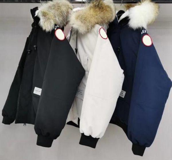 ceket büyük boy kürk yaka yuvarlak mektup apoletler Çift modelleri kış kat aşağı Kanada'nın goosedown erkek uçuş ceket yeni stil baykuş logosu