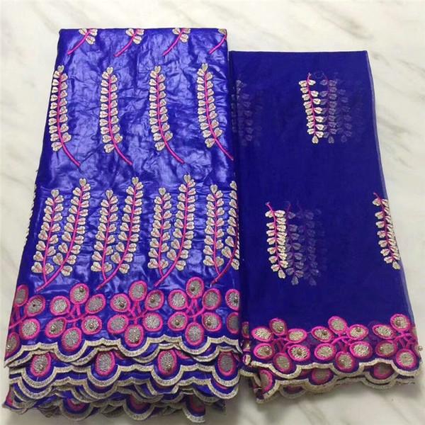 수 놓은 꽃과 가지 패턴 5 야드 새틴 패브릭 및 2 야드 그물 레이스 PB49 트리플 컬러 아프리카 WAX 레이스 패브릭