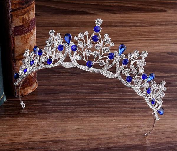 Magnifique princesse Big Couronnes de mariage Jewel Tiare diadèmes Tiares Femme en Métal Cryst Coiffes européens Bijoux Accessoires de mariée
