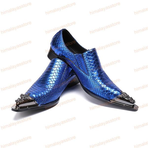 Yeni Moda Mavi Erkekler Hakiki Deri Ayakkabı Yılan Desen Gelinlik Ayakkabı Parti Resmi Ayakkabı üzerinde Kayma Büyük Boy 38-46