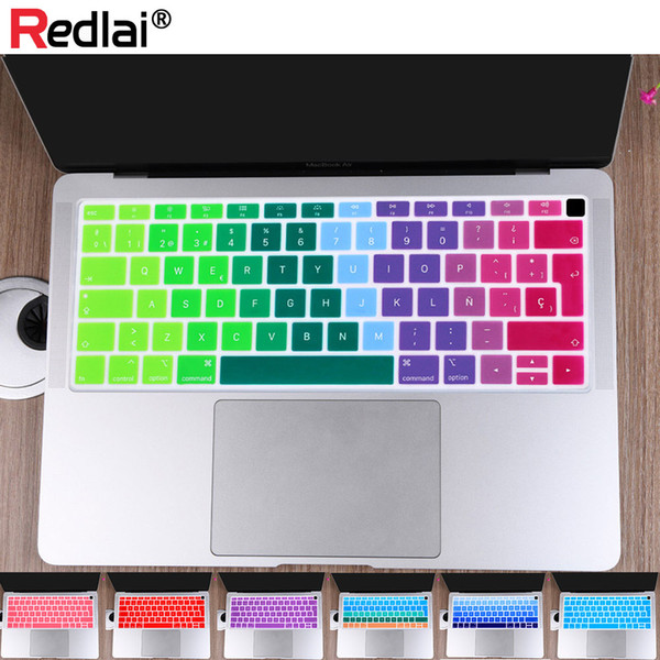 Pure/Gradient Color EU/UK Spanish Soft Silicone Keyboard Cover Skin Protector For New MacBook inch 2018 A1932 with Retina