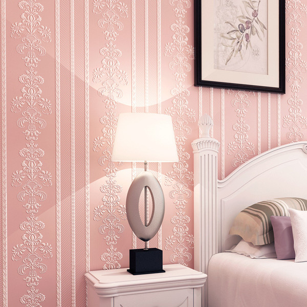 Wallpaper 3D Pink Floral Embossed Flower Desktop 3D Wallpaper Roll Modern Living Room Wall Paper Non-Woven Home Decor