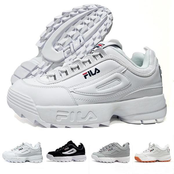 Femmes Noir Hommes Chaussures S Disruptors Velours Designer Original Blanc Course Acheter Épaissir Fila Ii Semelle 2 De Pour 08wnOPkX