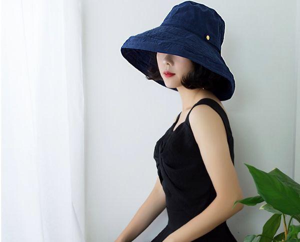 Female Korean version of the summer sun hat versatile travel sunbonnet sun protection outdoor big along the face covering Japanese fisherman
