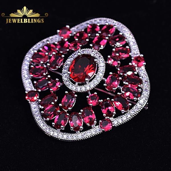 rooch designer Stunning Imitated Garnet Red Square Flower Brooch Silver Tone Oval CZ Centered Open Back Flat Design Floral Pins Corsage B...