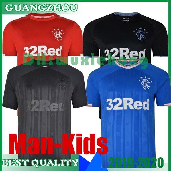19 20 Rangers FC Black Edition maglie calcio 2019 2020 rosso kit nero attrezzature Glasgow Rangers Football camicia uniforme SUPERA IL T Maillot