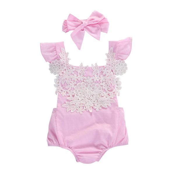 Summer Lace Baby Girls Rompers Sleeveless Pink Baby Girls Lace Floral Rompers Jumpsuit Headband Baby Girls Clothes 0-18 Months