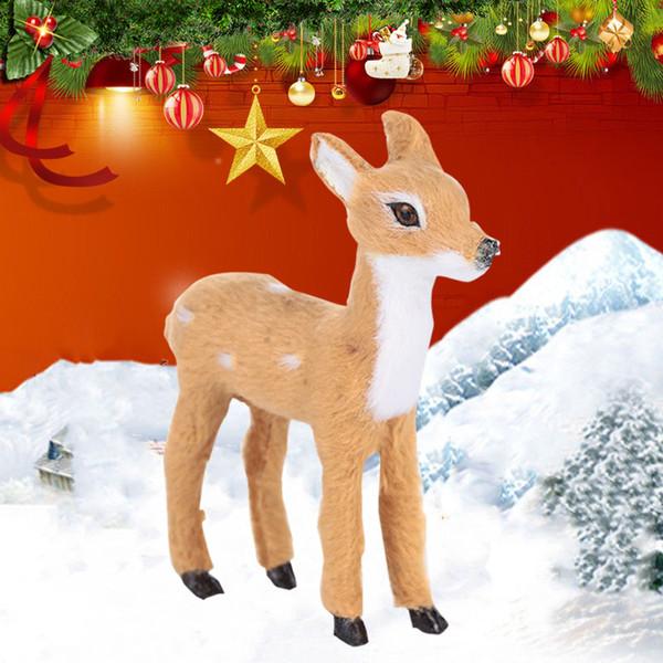 2019 Plush Plastic Christmas Reindeer Mini Home Decor Xmas Elk for Lawn Ornaments Drop Shipping