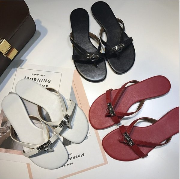 2019 Summer new leather H female dragging pin foot flat bottom flip flops, beach sandals fashion ladies with feet sandals