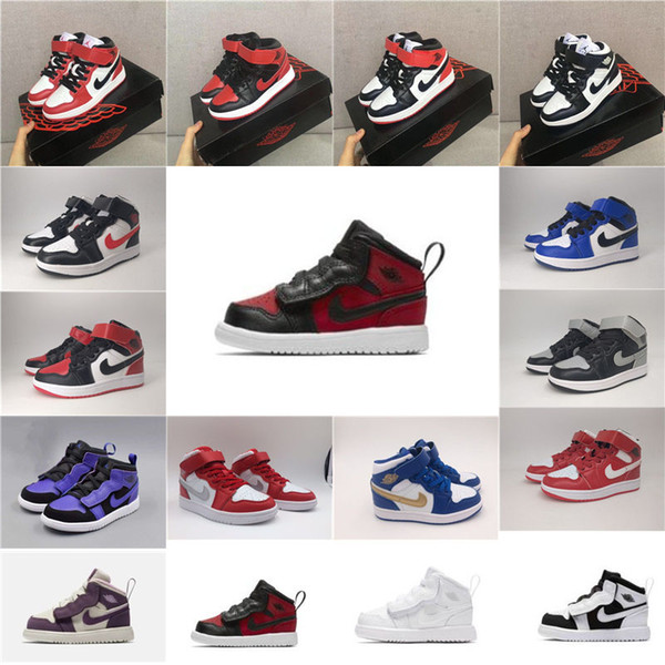 With Box Boy Girl 1s Gym Red Kids Basketball Shoes Violet Purple Childrens Pink White Dark Sneakers Toddlers Birthday Gift sports shoes 084