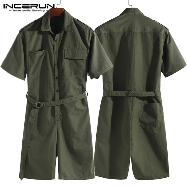 Harajuku Jumpsuit Cowboy Men Set Rompers Cargo Coverall Overalls One Piece Half Sleeve Solid Belt Waist Shorts Casual Playsuit