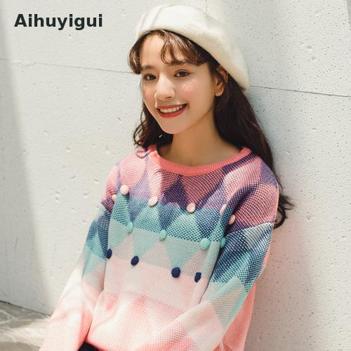 Aihuyugui Otoño Invierno Suéteres rojos Mujeres O-cuello Jerseys Manga larga Patchwork Mujer Jumper Casual Loose Knit Sweater R281