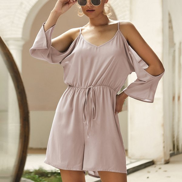 Women Romper Ladies Jumpsuit Summer Chiffon Sexy Fashion Half Sleeves Stylish Solid Shorts
