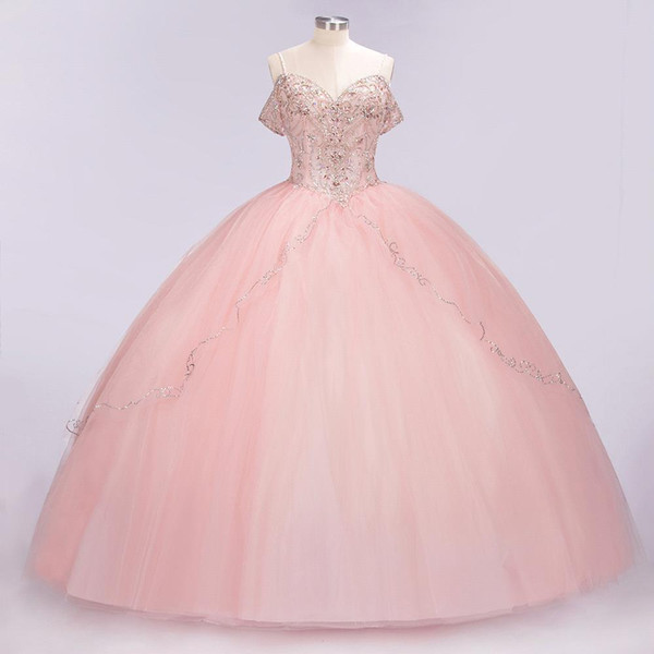 100% de vraies images de luxe bébé dentelle rose Appliqued robe de bal robes de Quinceanera élégant hors épaule robe de soirée de bal Robes de soirée