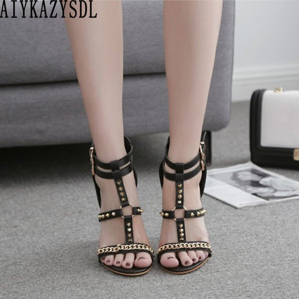 wholesale Gothic Gladiator Sandals Metal Rivets Chain Ankle Strap High Heels Strappy Open Toe Pumps Punk Shoes Stilettos Party