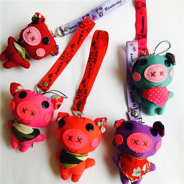 1pcs Cute Anime Pig Keychain Car Fur Keychain Plush Key Keychains Key Ring Holder Pendant for Bag Gifts for Women Girl