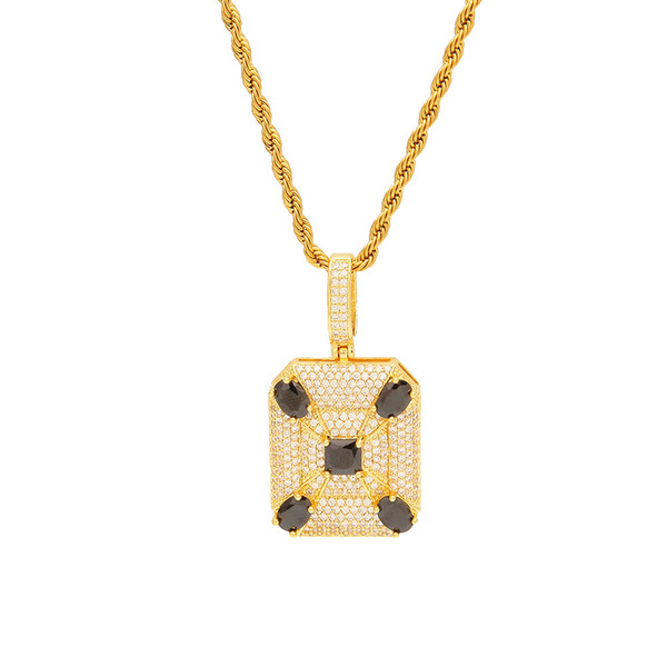 Hip Hop Micro Paved Black CZ Square Pendant Necklace Iced Out Cubic Zircon Gold Silver Plated Men's Jewelry Christmas Gift