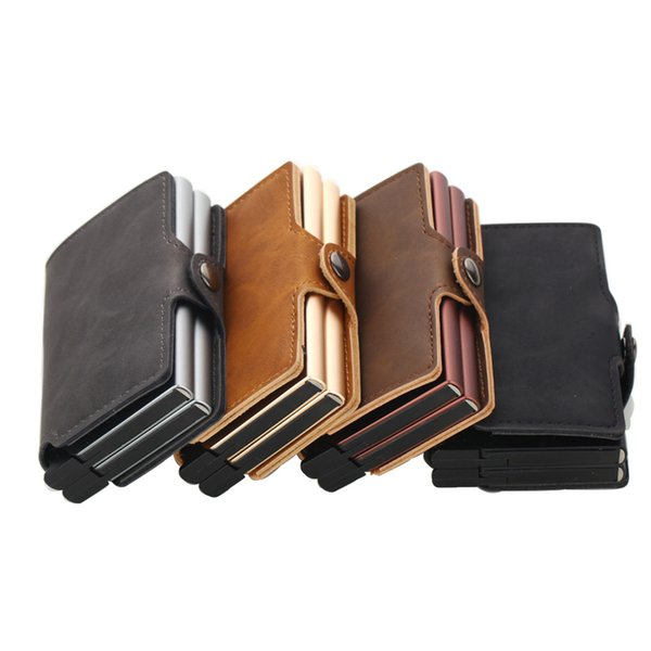 Weduoduo 2019 Men And Women Business Holder Metal Double Aluminium Box with rfid blocking Travel Card Wallet Purse