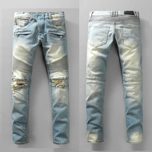 Pantalones de moto de agua ligera para hombres de la mejor calidad Vaqueros de motociclista Elásticos de canalé Skinny Fit Streetwear Pantalones de motociclista de hombre Pantalones de mezclilla delgados