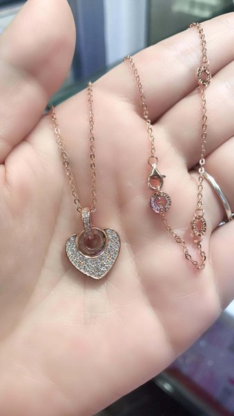 fahmi 100% sterling silver heart-shaped imported high carbon diamond necklace three ring logo adjustable chain ladies summer jewelry elegant