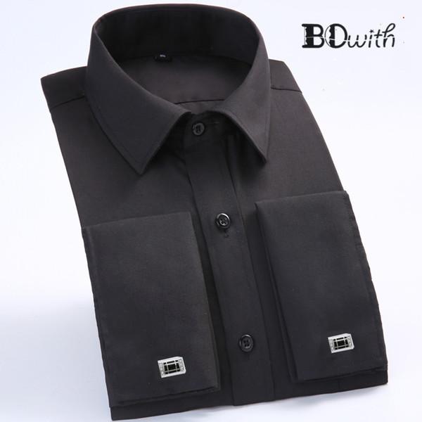 Black Striped French Cufflink Men Shirt Long Sleeved Shirt Male Social Business Dress Work Men Business Shirts Formal 4XL
