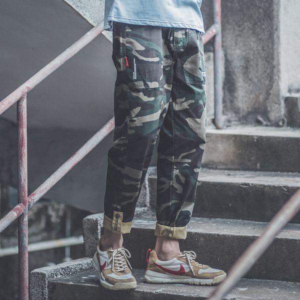 Хип-хоп тенденция в четырех сезонов 2019, мужские личности хип-хоп маскировочных халатах, students'elastic отдыха спецодежде