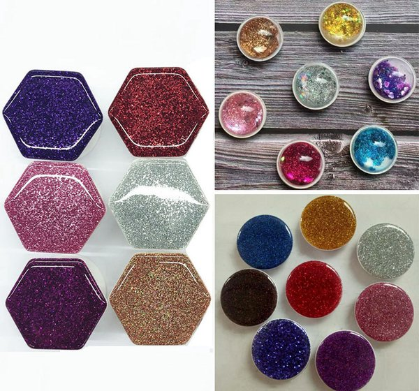 10PCS Universal Hexagon Glitter 3D Quicksand Glitter Airbag Grip Cell Phone Holder Expandable Bracket Stand With Opp Bag Package