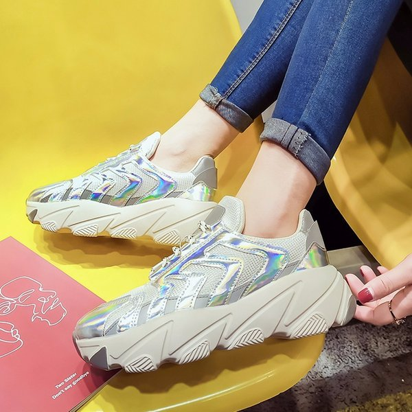 COOTELILI Women Sneakers Spring Autumn Breathable Women Flat Platform Shoes Woman Casual Lace up Creepers Shoes