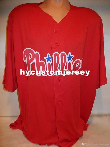 Pas cher sur mesure Majestic PHILADELPHIE Blank Baseball Jersey rouge des nouveaux hommes maillots cousu Big and Tall TAILLE XS-6XL à vendre