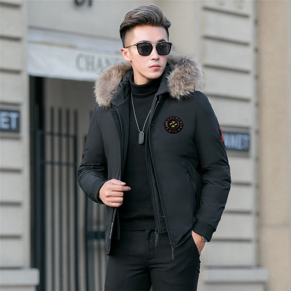 2019 new winter warm down jacket men 90% white duck down fashion short coats hooded thicken parka outwear 4xl, Black