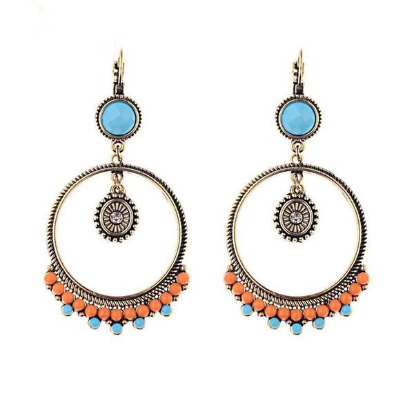 Vintage Ethnische Runde Perlen Baumeln Ohrringe Hängen für Frauen Böhmen Weibliche Mode Ohrring Partei Schmuck Großhandel
