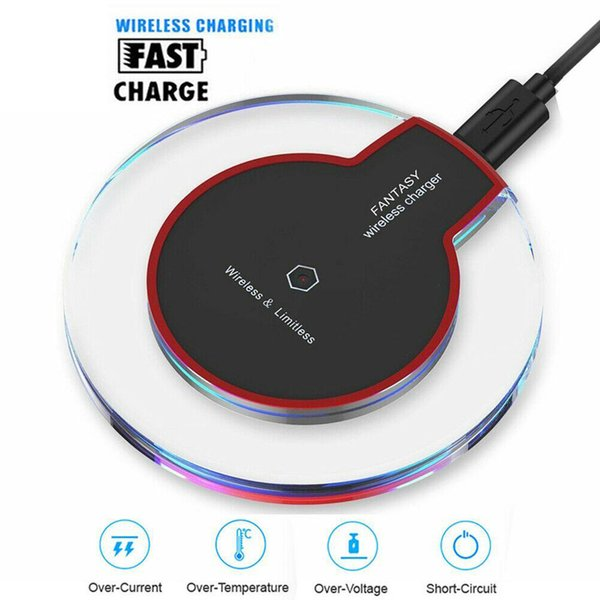 top popular Qi Wireless Charger for iPhone 11 XS Max XR Samsung Galaxy S10 Note10 Crystal LED Light Mini Fast Charging Pad With Charging Cable 2020