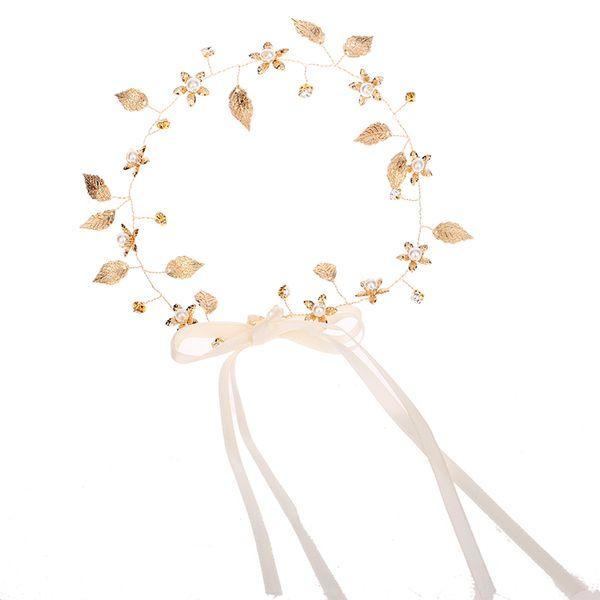Baroque Golden Leaf Headband Wedding Hair Vine Long Bridal Headband Wedding Hair Jewelry for Brides Bridesmaid Wedding Hair Accessories