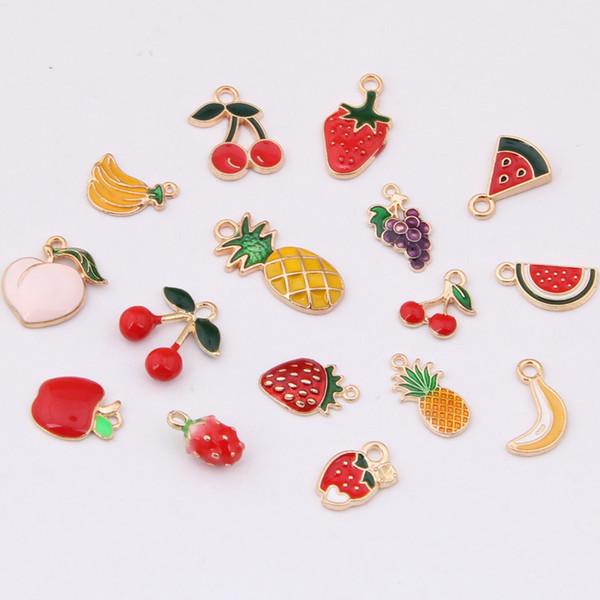 Obst Emaille Anhänger Erdbeere Apple Ananas Banane DIY Anhänger Bunte Modeschmuck Zubehör Emaille Tropfen Öl Obst Zubehör