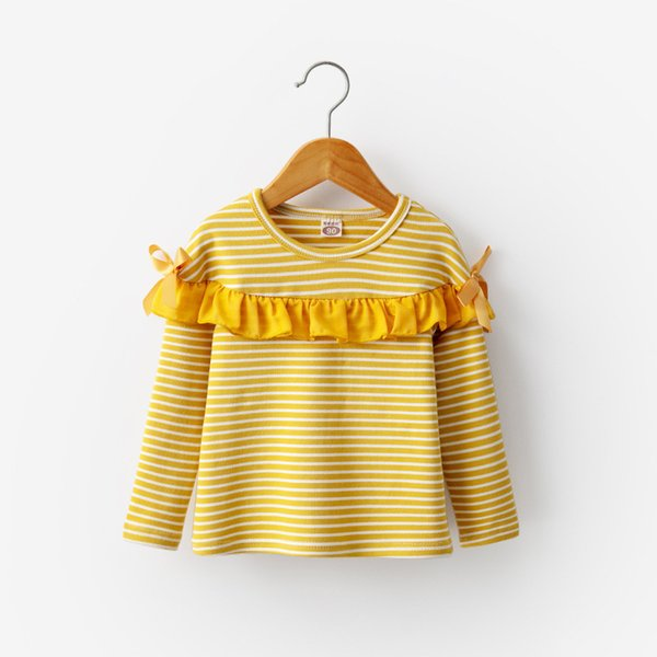 good quality 2019 Spring Autumn Girls T-shirts Cotton Long Sleeve Bottom Cartoon Lace Print Bow Striped Tops Soft Pullover Clothing