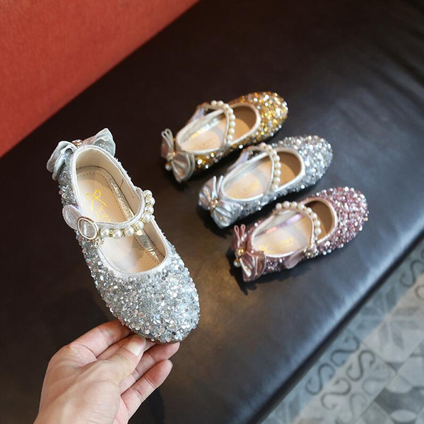 80c97622febc3 Kids Shoes For Girl Summer Princess Sequins Flats Wedding Children'S  Sandals Pink Gold Sliver Toddler Baby Pearl Shoes Brown Leather School  Shoes ...