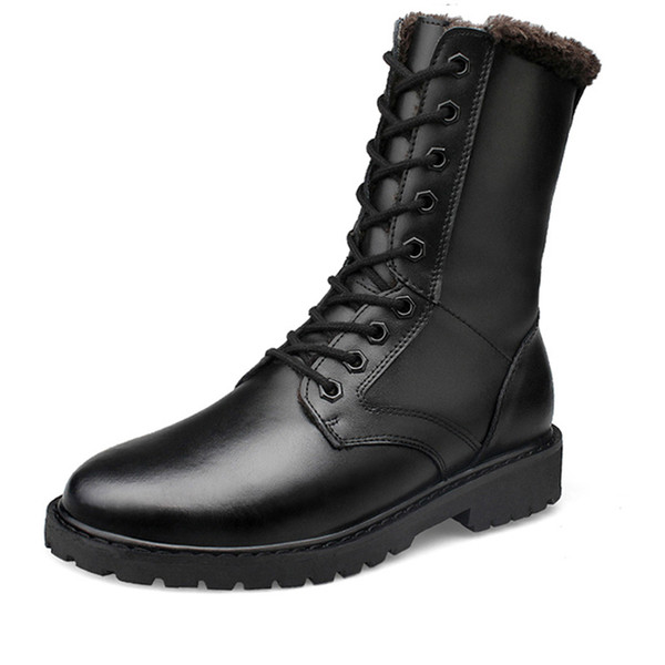 Retro Combat Boots Winter Plush British Style Real Leather Military Boots Charm Low Heels Snow Men Boots