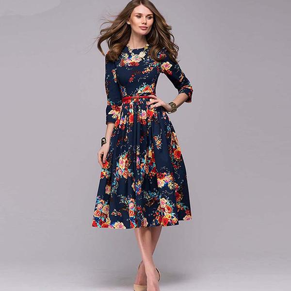 woman dark blue retro a-line high waist dress woman autumn three-quarter sleeve flower pleated dress for evening vestido